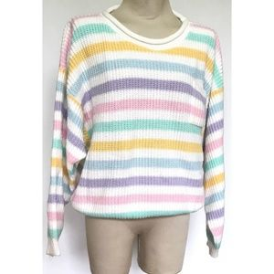 Vintage 80s Pastel Drop Shoulder Stripe Sweatshirt